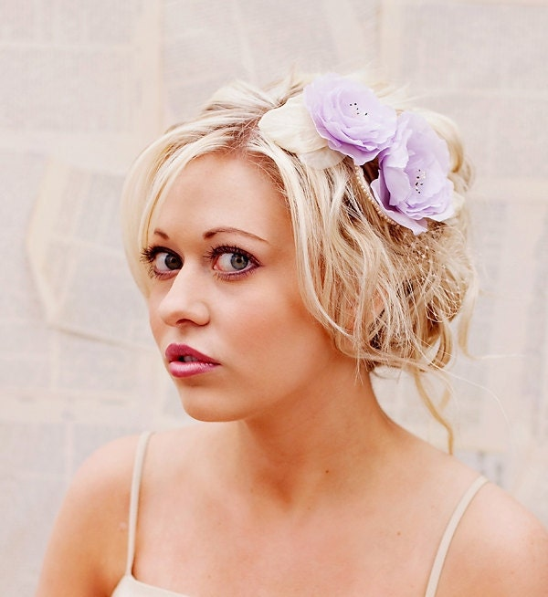 Wedding Hair Accessories Lavender wedding hair flower head piece bridal
