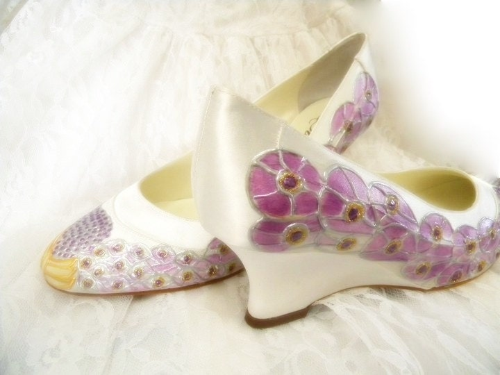 Wedding Shoes Peacock Feathers satin wedge PURPLE JEWEL Size 10