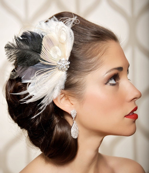 Ivory Grey Champagne Peacock Hair Piece Bridal Head Piece