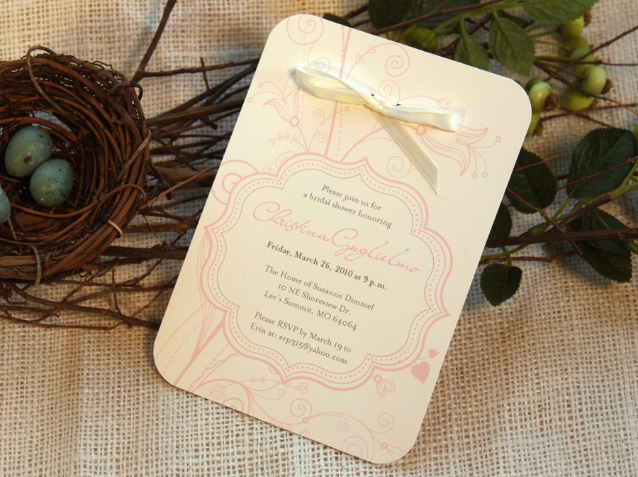 Set of 25 Whimsical Pink Cream Wedding Shower Invite