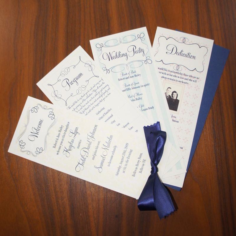 Modern Vintage Wedding Program From additionalpostage