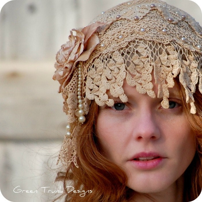 1920s Style Flapper Wedding Cap From GreenTrunkDesigns