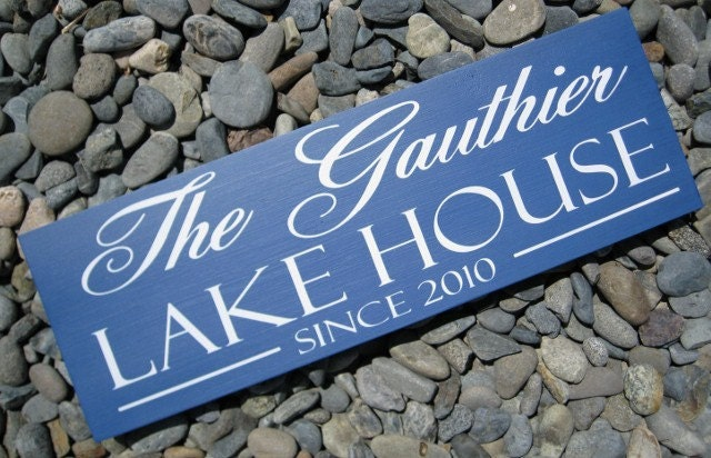 Custom Wood Sign Personalized Wedding Gift Lake House Beach House Cabin