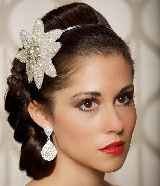 Art Deco Rhinestone Silver Headband bridal headband Vintage Brooch Ready
