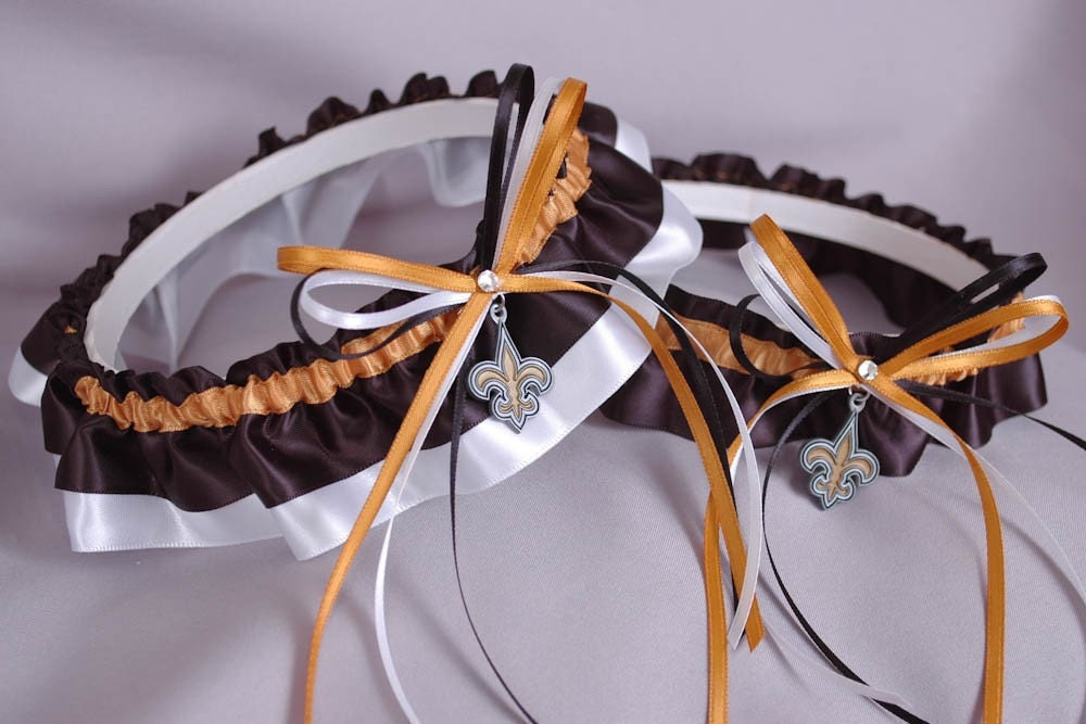 New Orleans Saints Inspired Wedding Garter Set in Old Gold Black and White
