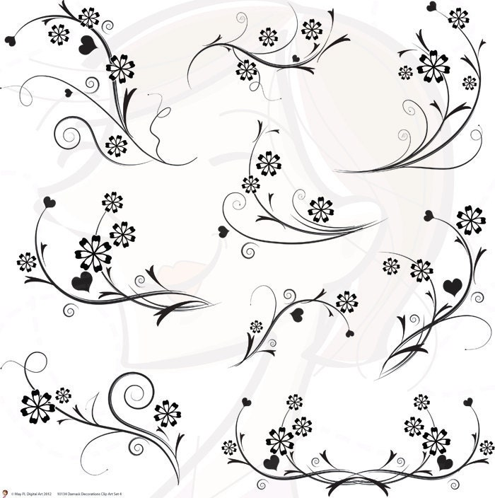 Black and White Damask Decorative Wedding Scrapbooking Supplies 10134