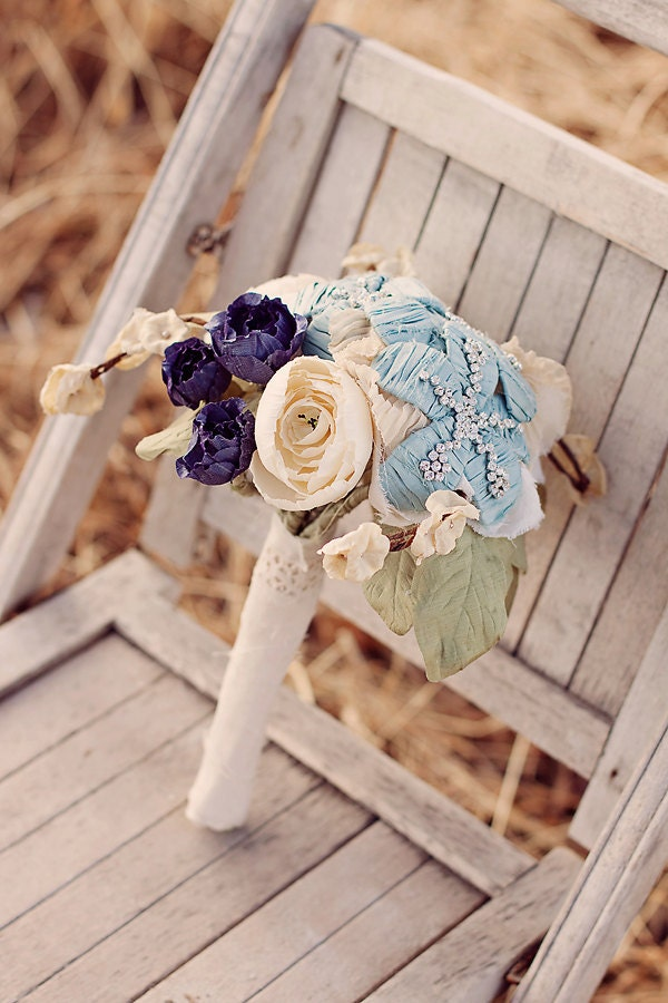 Wedding Bouquet rhinestone bridal bouquet heirloom vintage handmade
