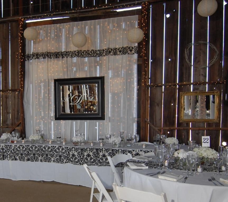 Wedding Drapes Ceiling drapes Head Table back drops cake table veils