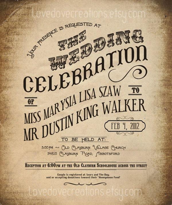 Steampunk Wedding Invitation Vintage Grunge Western Custom Invite