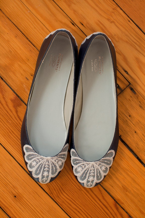Ready to Ship Size 10 Navy Blue satin wedding shoe ballet flats with lace