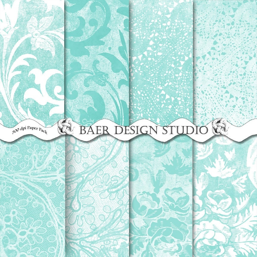 Tiffany Blue Digital Damask Scrapbook Papers in Teal Damask and Lace