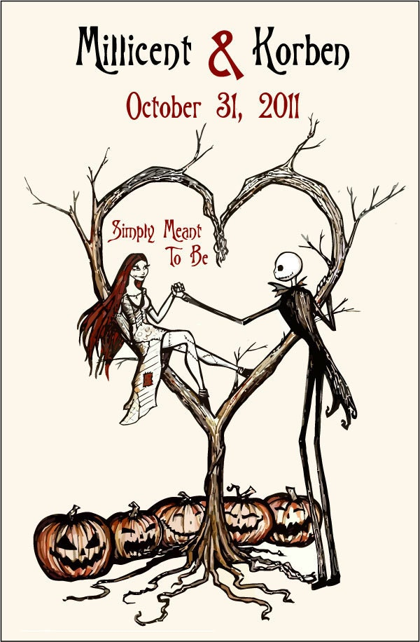 Burton Inspired Nightmare before Christmas Design Wedding Programs diy