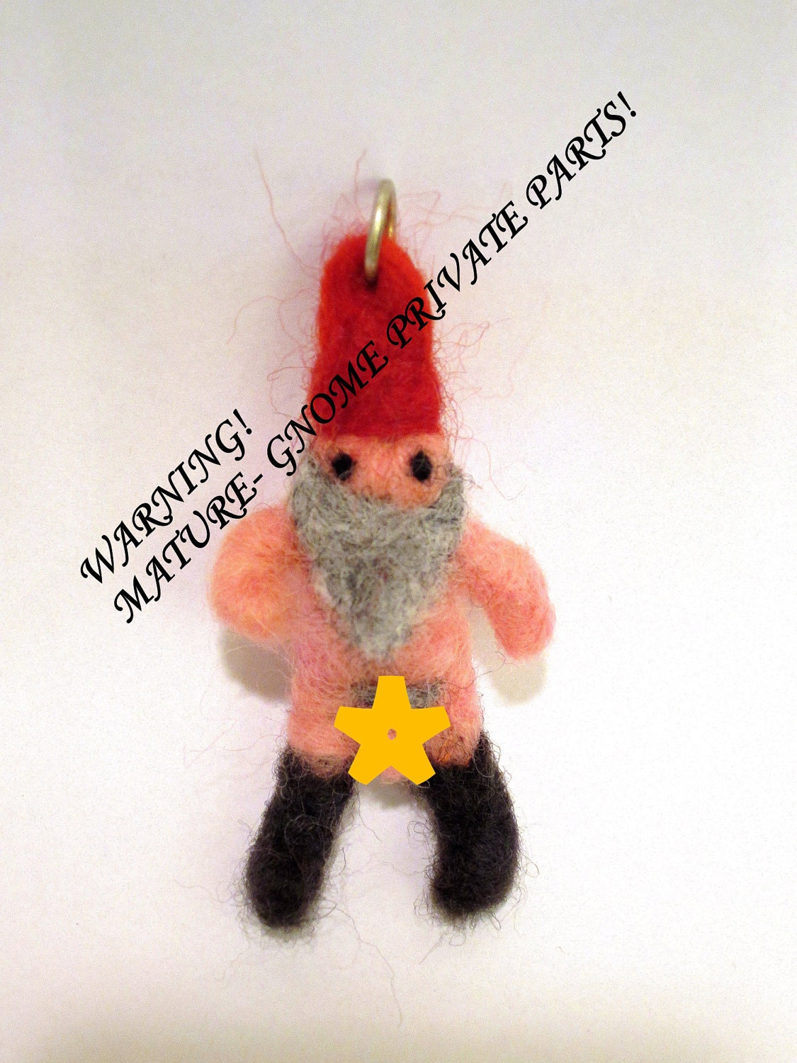 mature needle felted Naked gnome necklace miniature charm pendant naughty ...