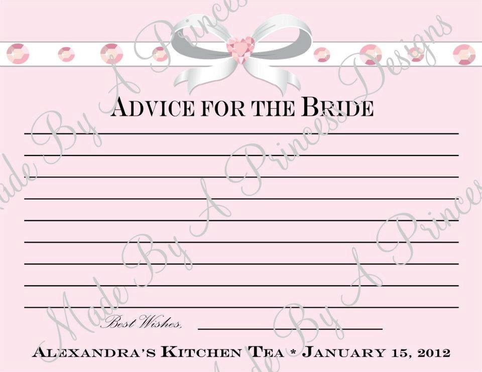 Pink Diamonds Bridal Shower Advice Printable Best Wishes