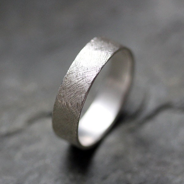 Recycled sterling silver wedding band, hand finished texture