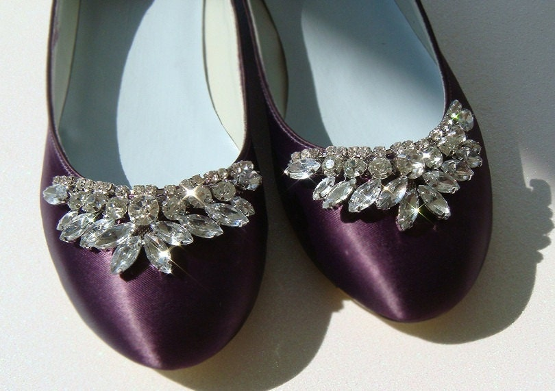 Cinderella Custom Bridal flats encrusted with rhinestones Custom Dyed