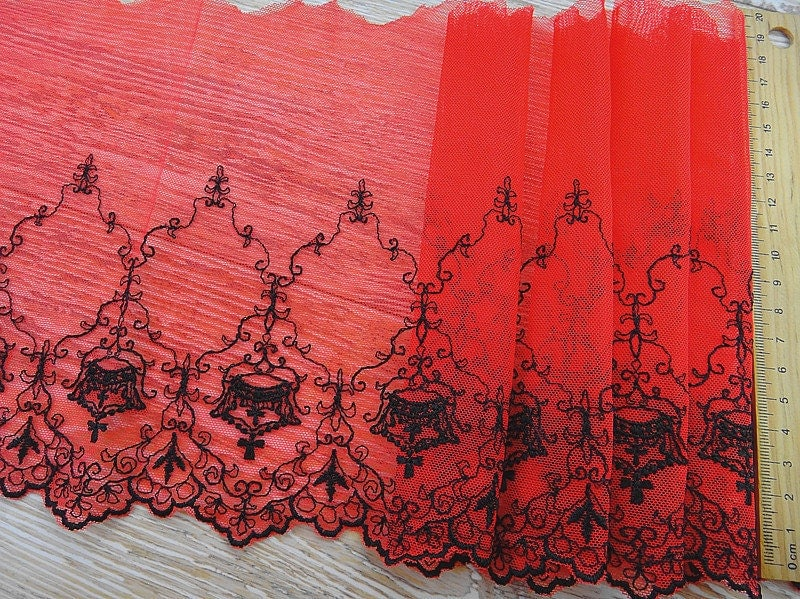 Red Lace Trim Vintage Embroidered Butterflies Wedding Dress Trim DIY Fabric