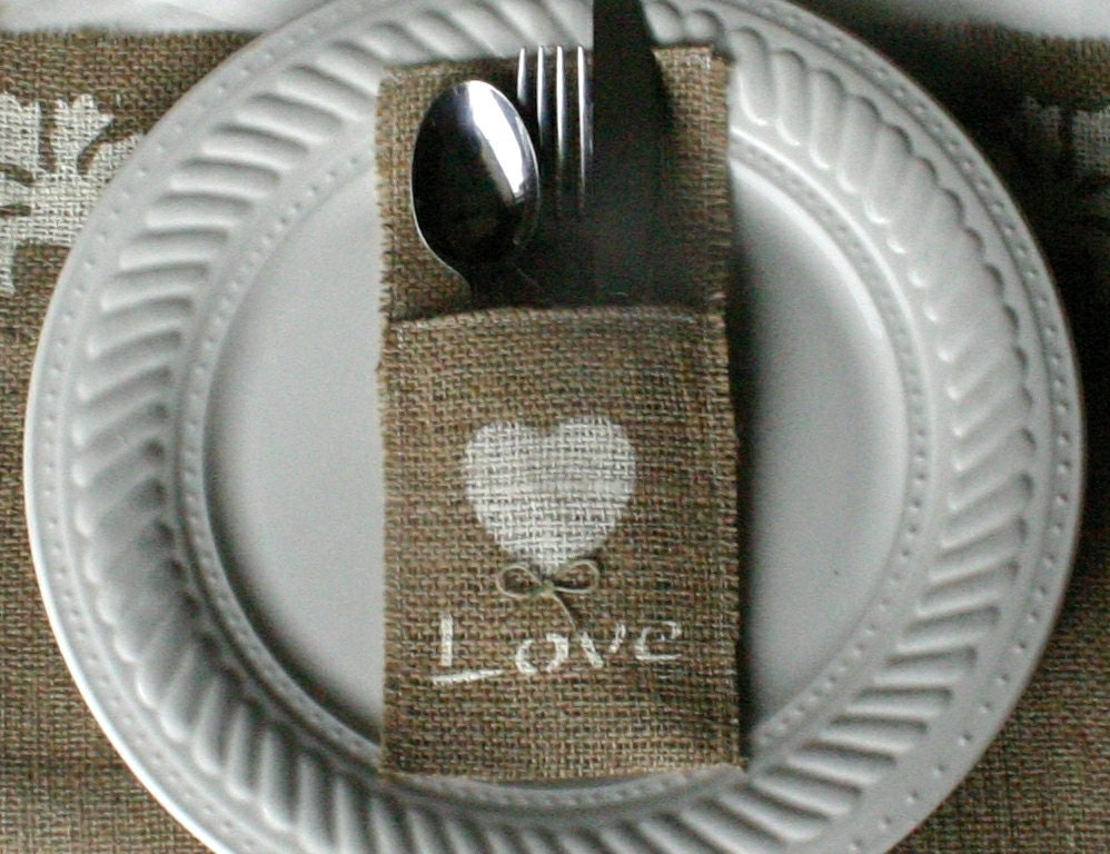 Burlap silverware holders 6 18 Burlap wedding decorations 75 200 country