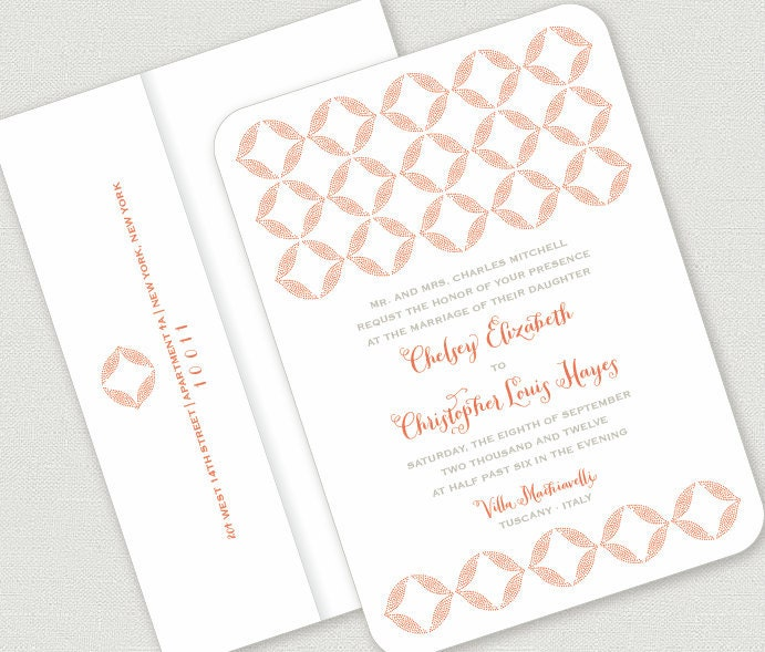 NEW tuscan letterpress WEDDING INVITATION deposit to get started