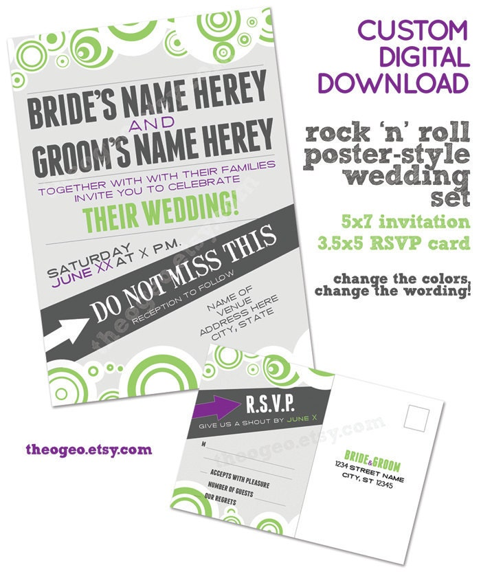 Rock and roll poster wedding invitation and RSVP card custom digital