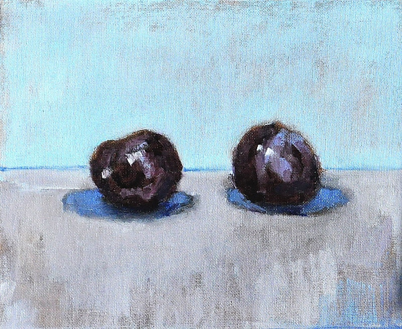 Still Life Painting Two Plums Original Fine Art