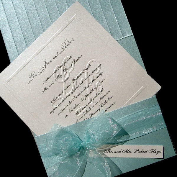 100 Customized Blind Embossed Monogram and Organza Bow Wedding Invitations