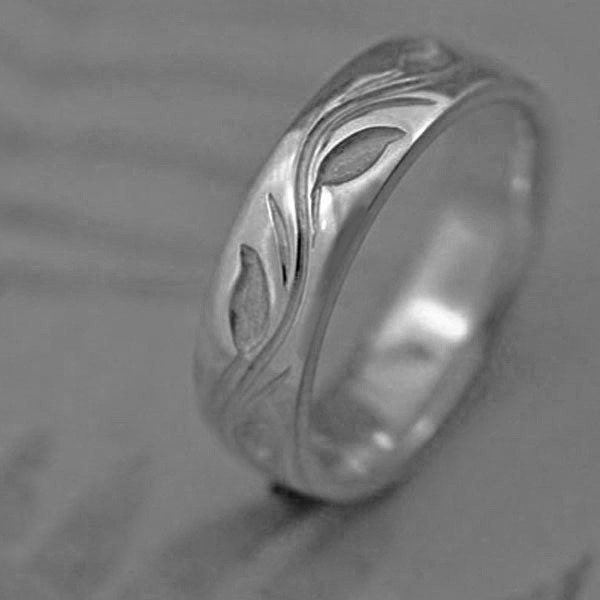 VINE AND LEAF WEDDING BAND made in PALLADIUM This ring priced in women 39s