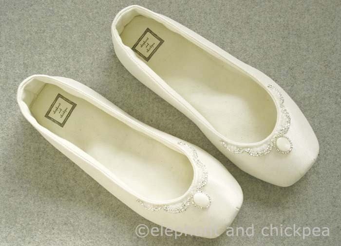 Indoor Wedding Ballet Flats with Beading From elephantandchickpea